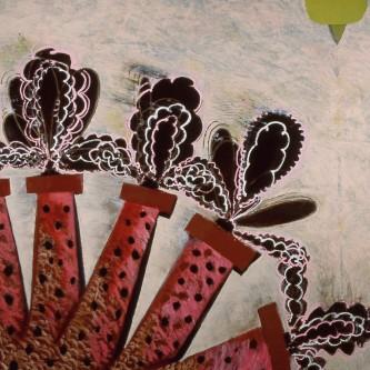 "Mummers Wheel,  58 x 60"", oil on canvas, 2008"